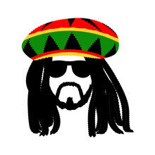 Jamaican Rasta Hat With Dreadl...