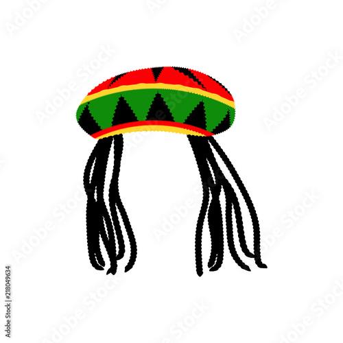 Fotografie, Obraz Jamaican rasta hat with dreadlocks