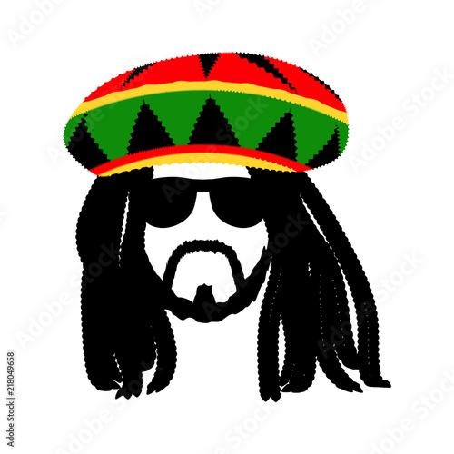 Obraz na plátně Jamaican rasta hat with dreadlocks and beard