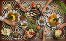 Different Indonesian Food Dishes. Various Indonesian Bali Food