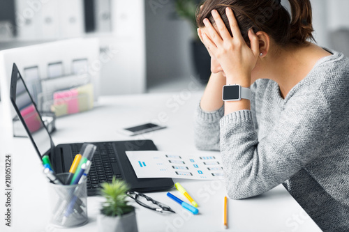 app design, technology and failure concept - stressed web designer with user interface layout