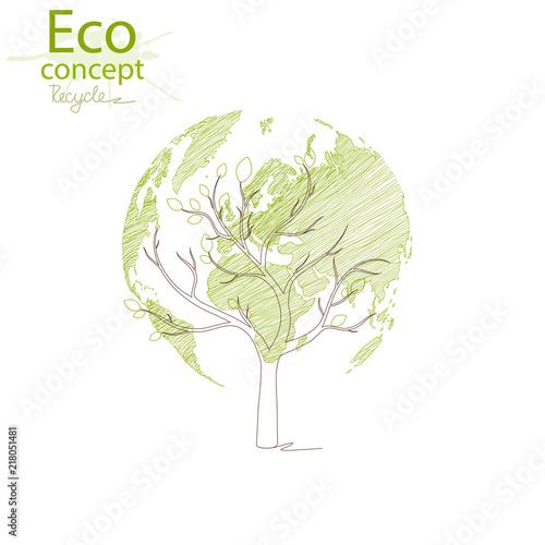 Green Globe On The Tree Tree With Globe Environmentally Friendly