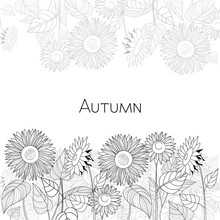 Autumn Card Of Sunflowers. Bla...