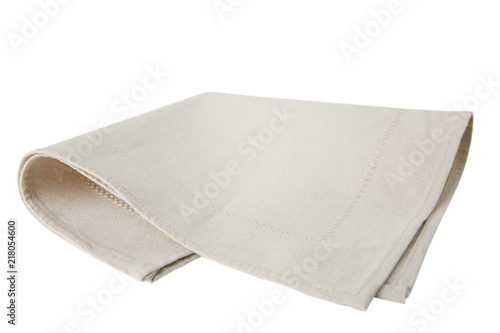 Kitchen beige towel folded isolated.