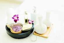 Herbal Ball Spa.Spa Massage Treatment Products For Good Health On The White Table.Close Up Spa Body Theme.spa Ball