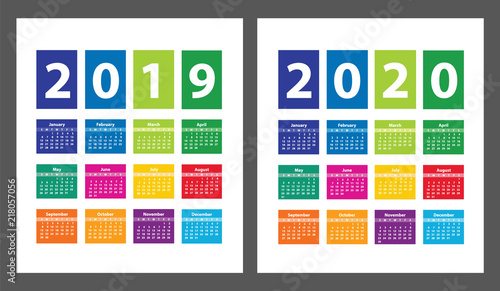 Fotografering  Color Calendar 2019 and 2020 starting from Sunday