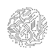 Printed Circuit Board Black And White Circle Shape Symbol Of Computer Technology, Vector