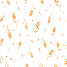 Seamless Pattern With Whole Grain Seeds Organic, Natural Background Isolated On White Background Flat Style Design Vector Illustration. Wheat, Barley Or Rye Ears With Straw Chaotic Version