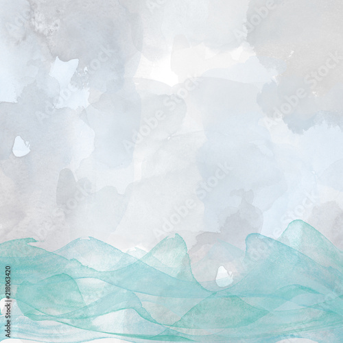 Láminas  Abstract picture of the sea, waves, watercolor, hand-painted