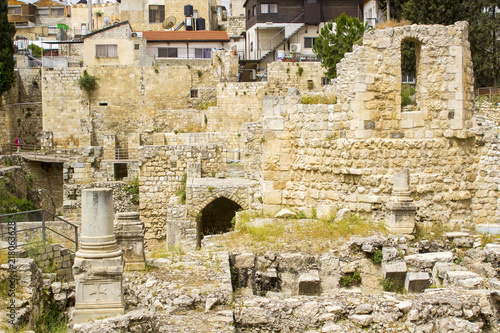 Photo  Part of the excavated ruins of the old Pool of Bethesda in Jerusalem