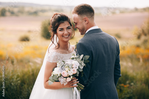 Happy couple.Wedding photo.Couple in love Fotobehang