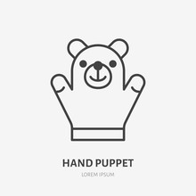 Hand Puppet Line Icon, Baby Soft Bear Toy Flat Logo. Cute Plush Animal Vector Illustration. Sign For Kids Shop.