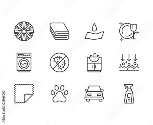 Microfiber cloth properties flat line icons Canvas Print