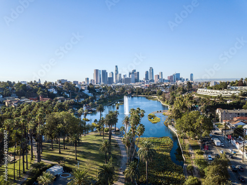 Drone view on Echo Park and the LA Skyline