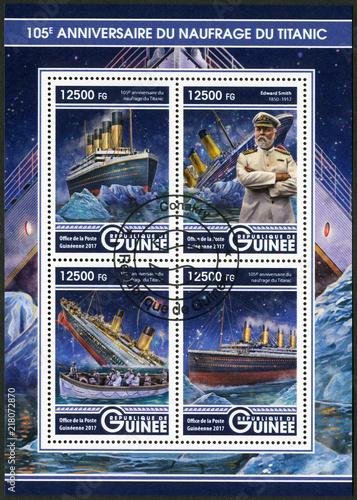 GUINEA - 2017: shows Titanic and Edward Smith (1850-1912) captain of RMS Titanic