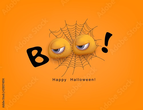 Fotografie, Obraz  Halloween Festive design Boo with 3d funny eyes Vector
