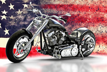 Custom Black Motorcycle With American Flag Background With Dispersion Effects. Made In America Concept. 3d Rendering
