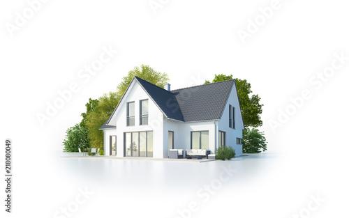 Einfamilienhaus 1 freigestellt Canvas Print