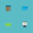 Set of banking icons flat style symbols with statistics, calculator, dollar and other icons for your web mobile app logo design.