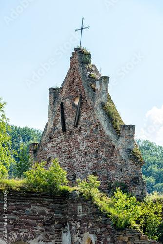 Foto op Aluminium Oude gebouw The ruins of an ancient church in Chervone. Ukraine