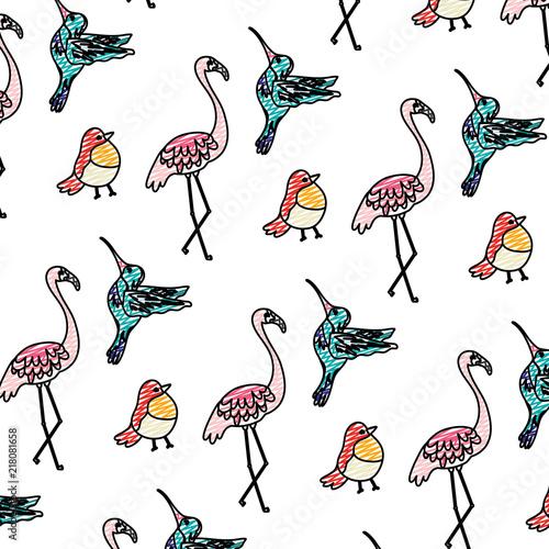 Canvas Prints Flamingo Bird doodle tropical nice birds animals background