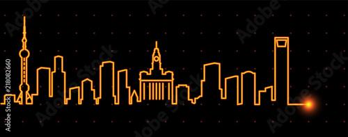 Naklejka premium Szanghaj Light Streak Skyline