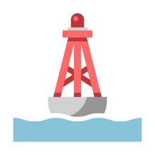 Floating Buoy Flat Illustration