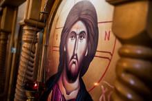 Ancient Orthodox Icon Showing Jesus Christ