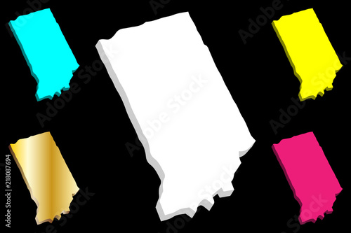 3D map of Indiana (United States of America) - white, yellow, purple ...