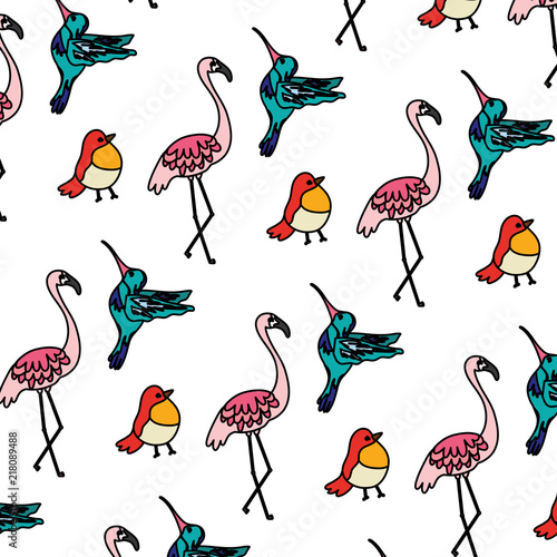 Canvas Prints Flamingo Bird color tropical nice birds animals background