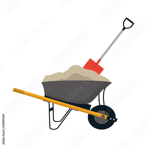 Tableau sur Toile wheelbarrow construction with cement and shovel equipment
