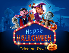 Happy Halloween Cartoon Illustration With Movie Billboard