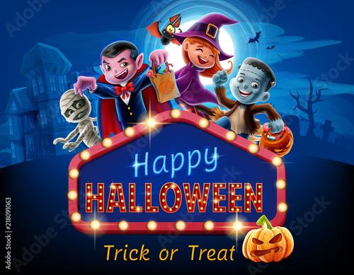 Spoed Fotobehang Halloween happy halloween cartoon illustration with movie billboard