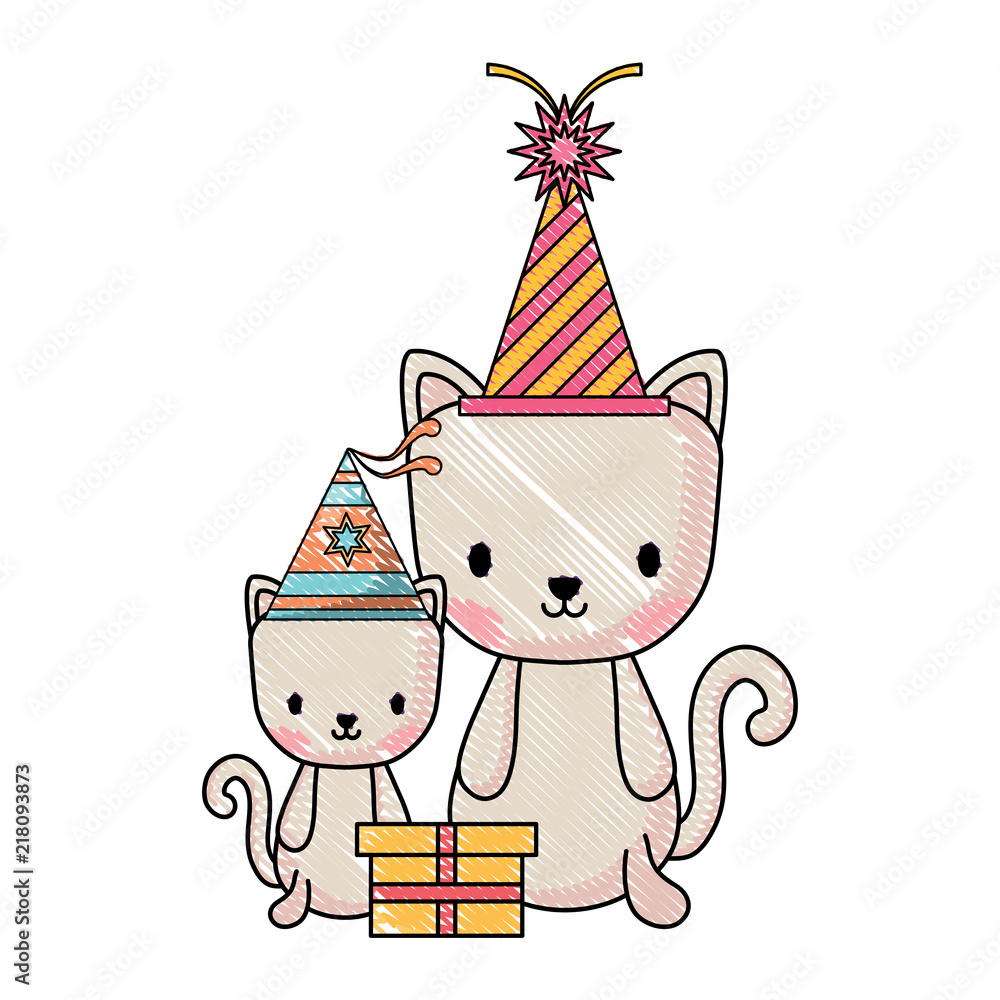 Happy Birthday Design With Cute Cats Party Hats Over White Background Vect Foto Poster Wandbilder Bei EuroPosters