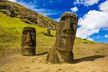 """""""Moai"""" Statues At Rapa Nui National Park ( Easter Island)"""