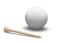 Golf Ball With A Golf Tee