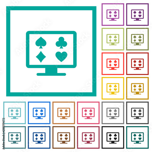 Online gambling flat color icons with quadrant frames плакат
