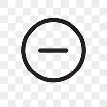 Rounded Delete Button With Minus Vector Icon Isolated On Transparent Background, Rounded Delete Button With Minus Logo Design