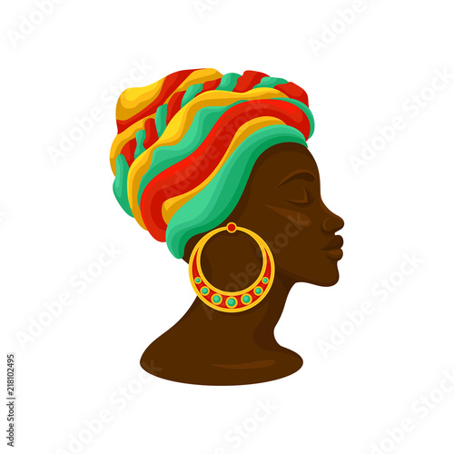 Head of young black woman in a turban, side view vector Illustration on a white Canvas-taulu