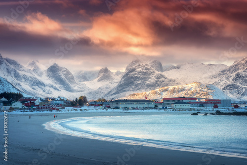 Beautiful Arctic Sandy Beach With Blue Sea In Winter At