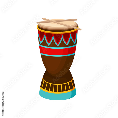 African drum djembe with ethnic ornament, authentic symbol of Africa vector Illu Poster Mural XXL