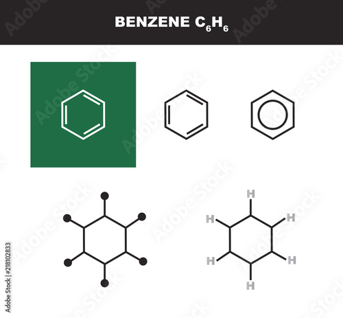 Photo Vector molecule of benzene in several variants - organic chemistry concept