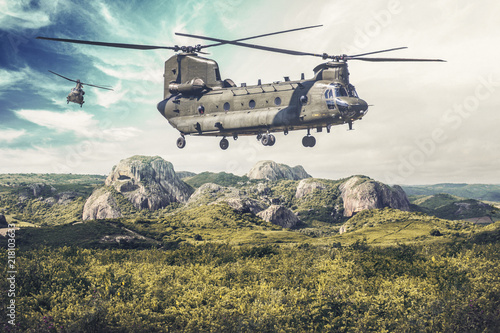 American twin-engine, tandem rotor, heavy-lift helicopter flies over a green lan Poster Mural XXL