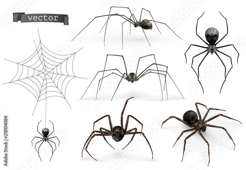 Papel de parede Realistic spider. Halloween 3d vector icon set