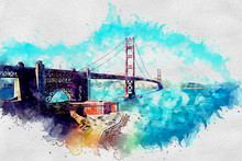 Golden Gate Bridge As Watercolor
