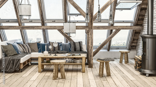 Fototapeta Rustic attic loft with large windows