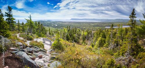 Canvas Print Panoramic image of Broad Cove Mountain in Cape Breton National Park, Nova Scotia