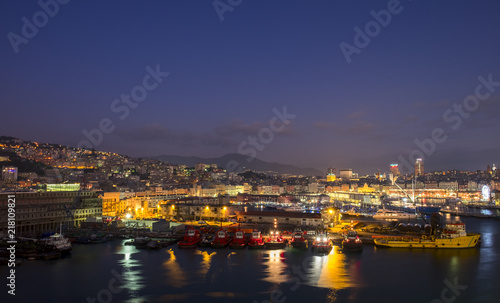 Fototapeta View from the port of Genoa at night. Liguria, Italy obraz na płótnie