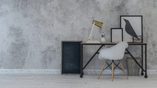 Desk And Chair With Crow Paint...