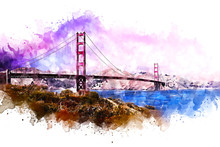 Golden Gate Bridge Watercolor ...